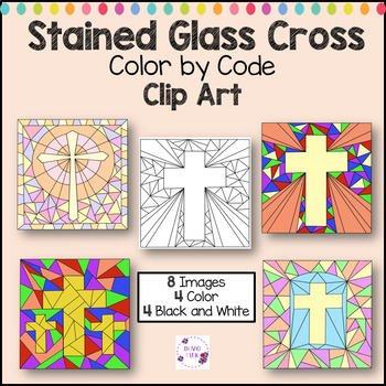 Stained Glass Cross Color by Code Clip Art Designs