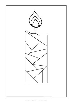 Stained Glass Cross and Candle