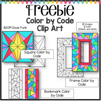 Stained Glass Designs Color by Code Clip Art FREEBIE