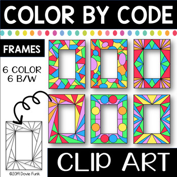 Stained Glass Designs Color by Code Clip Art Frames