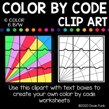 Stained Glass Designs Color by Code Clip Art Puzzles