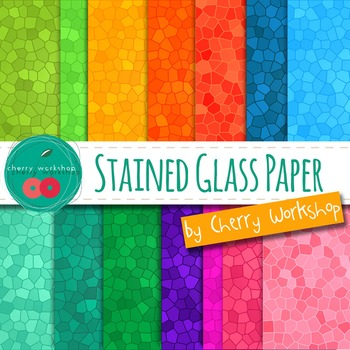 Stained Glass Digital Paper - Rainbow Digital Paper