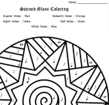 Stained Glass Note Identification Coloring