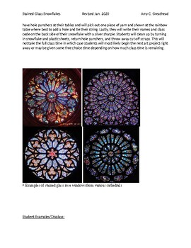 Stained Glass Snowflake Lesson Plans