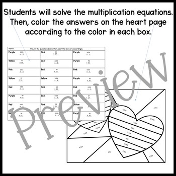 Stained Glass Valentines Multiplication Activity with EDITABLE VERSION