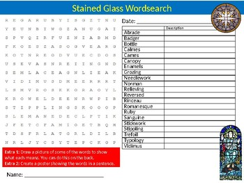 Stained Glass Wordsearch Sheet Starter Activity Keywords