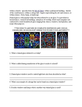 Stained Glass Worksheet