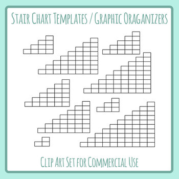 Stair Charts - Increasing Steps / Tables Clip Art Set for Commercial Use