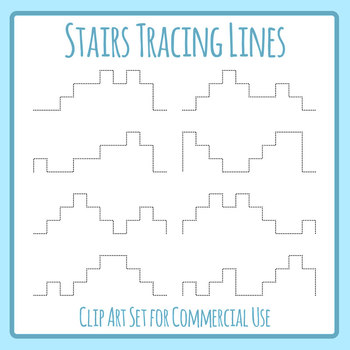 Stair / Step Tracing Lines for Pencil Control Clip Art Set for Commercial Use