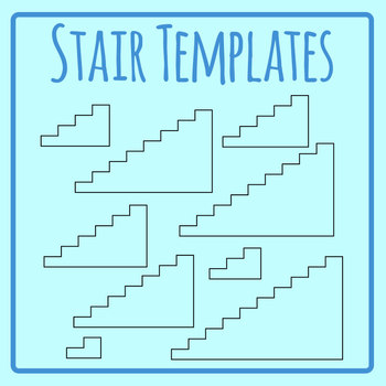 Stair Templates - Blank Stairs Clip Art Set for Commercial Use