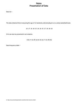 Staistics Worksheet: Presentation of Data