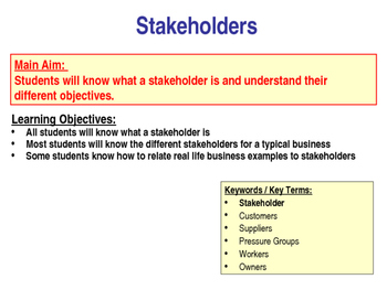 Stakeholders & Business Objectives - Business Studies - Worksheet, PPT & Quiz