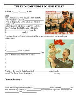 Stalin's Five Year Plans Economic Cloze Activity & Reading