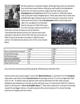 Stalin's Five Year Plans & Collectivisation - 6-page lesson (notes, card sort)