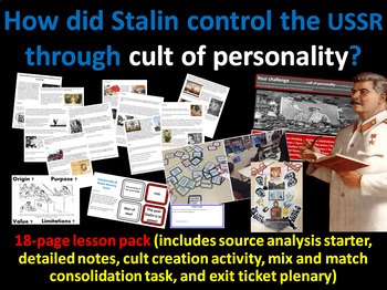 Stalin's personality cult - 18-page full lesson (starter, notes, task, plenary)