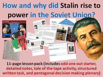 Stalin's rise to power - 11-page full lesson (starter, notes, task, plenary)