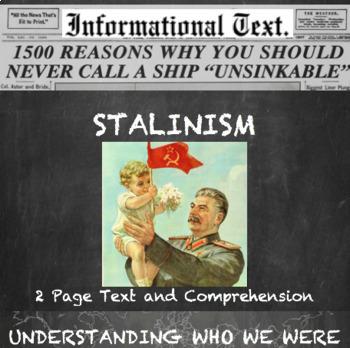Stalinism--Informational Text Worksheet