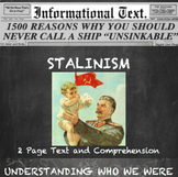 Stalinism--Informational Text Worksheet