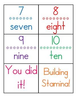 Stamina Building Number Cards