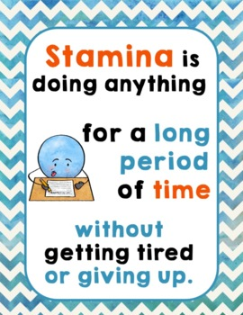 Stamina Poster | Building Stamina | Class Management | Self-Esteem