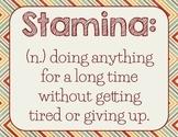 Stamina Poster for Reading Workshop