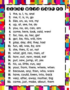 Stamp 100 Kindergarten Sight Words