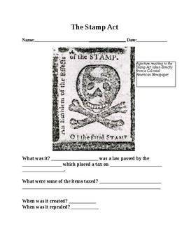Stamp Act Guided Notes and Activity