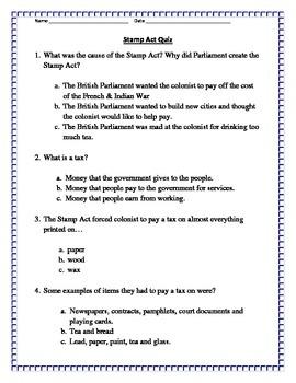 Stamp Act Quiz