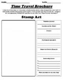 """Stamp Act """"Time Travel Brochure"""" Worksheet & Webquest"""