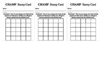 Stamp Card for Behavior Management