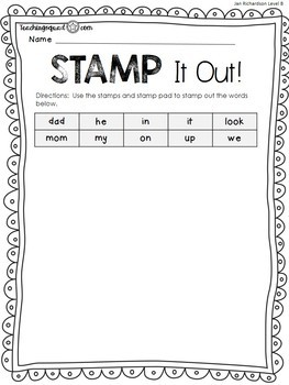 Stamp, Dough & Roll Sight Word - Word Work Level B