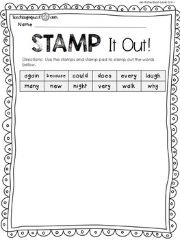 Stamp, Dough & Roll Sight Word - Word Work Level G, H, I
