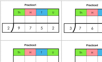 Stamp Game Practice Cards (Division Dynamic 1-digit-divisor)