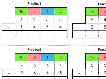 Stamp Game / Small Bead Frame Practice Cards (Subtraction Dynamic)