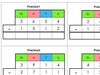Stamp Game / Small Bead Frame Practice Cards (Subtraction Static)
