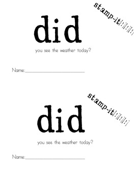 "Stamp-It Sight Word Reader ""did"""
