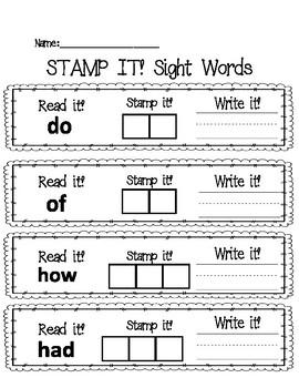 Read It, Write It, Stamp It Sight Words 4