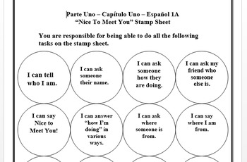 Stamp Sheet (I can statements) - Nice to Meet You