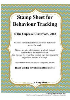 Stamp Sheet for Behaviour Tracking FREEBIE