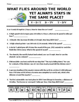 Velocity Worksheet Puzzle - What Flies Around World But Stays in Same Place?