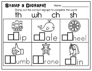 Stamp a Digraph Kindergarten Literacy Center for TH/SH/CH/WH