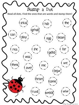 Stamp-a-dot Sight Word Worksheets - High Frequency Words