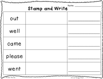 Stamp and Write Dolch Sight Words (Pre-Primer--2nd Grade)