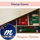 Stamp game printable Montessori addition multiplication su