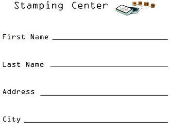 Stamping Center Worksheet
