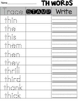 Stamping Digraphs Word Work Center
