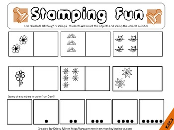Stamping Math Centers Set 1 #s 0 to 5 -Ready to Go & Common Core Aligned
