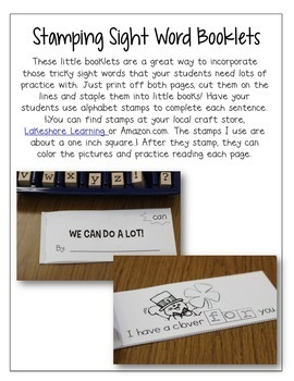 Sight Word Practice | Stamping Booklets