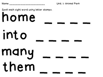 Stamping Sight Words - 1st Grade Reading Street CCSS Edition (Unit 1)