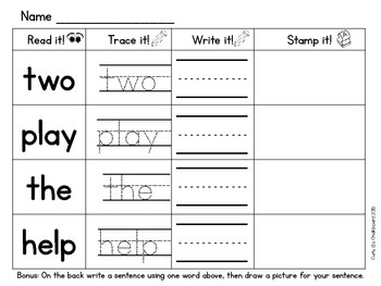 Stamping Sight Words: Pre Primer Dolch words